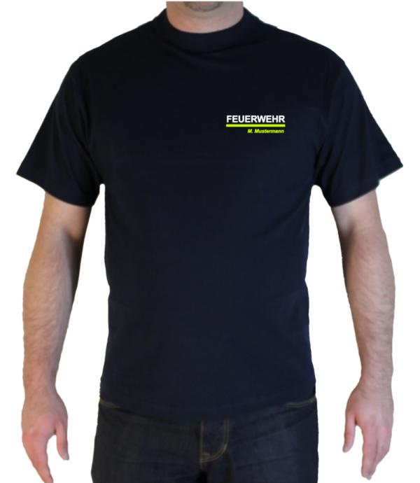 T-Shirt Freiwillige Feuerwehr mit Name zweifarbig