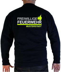 Pullover Freiwillige Feuerwehr Design zweifarbig mit Flamme und Ortsname