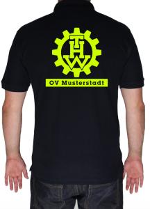 THW Poloshirt Zahnrad und Ortsverband - Aufdruck in neongelb