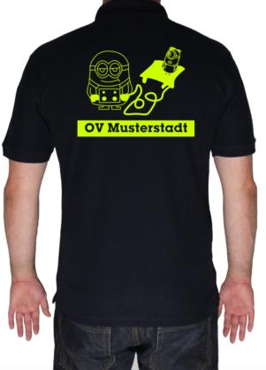 THW Poloshirt Minion Hebekissen mit Ortsverband - Aufdruck in neongelb