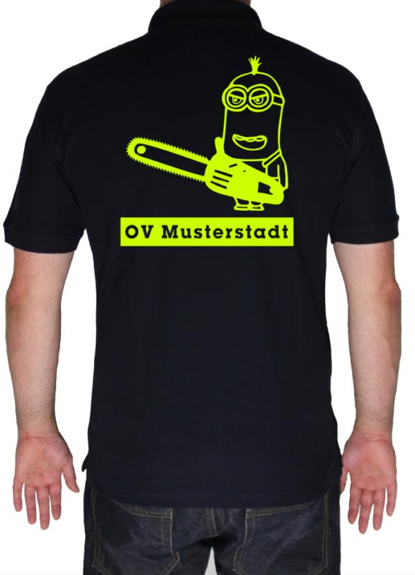 THW Poloshirt Minion Kettensäge mit Ortsverband - Aufdruck in neongelb