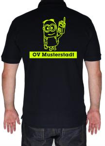 Poloshirt THW Zugtrupp Minion mit Ortsverband in Neongelb