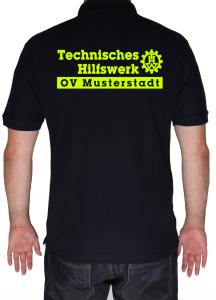 THW Poloshirt mit Schriftzug und Zahnrad - Aufdruck in neongelb