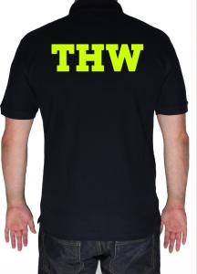 THW Poloshirt THW simple - Aufdruck in neongelb