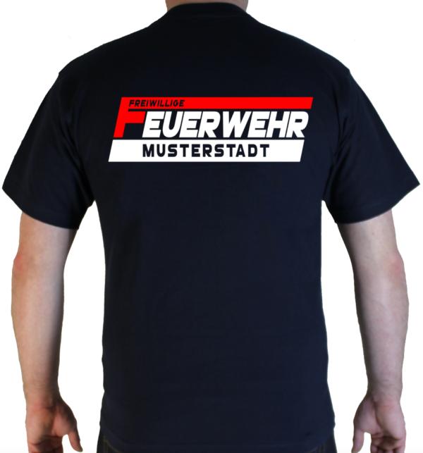 T-Shirt Freiwillige Feuerwehr - zweifarbig - mit Ortsname ROT/Weiß