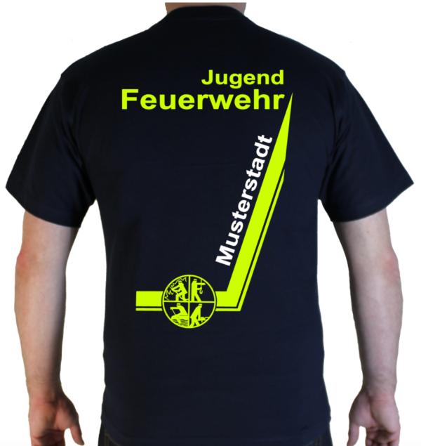 T-Shirt Jugendfeuerwehr Design mit Signet und Ortsname