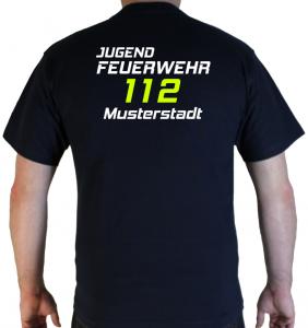 T-Shirt hinten Jugendfeuerwehr zweifarbig 112 mit Ortsname