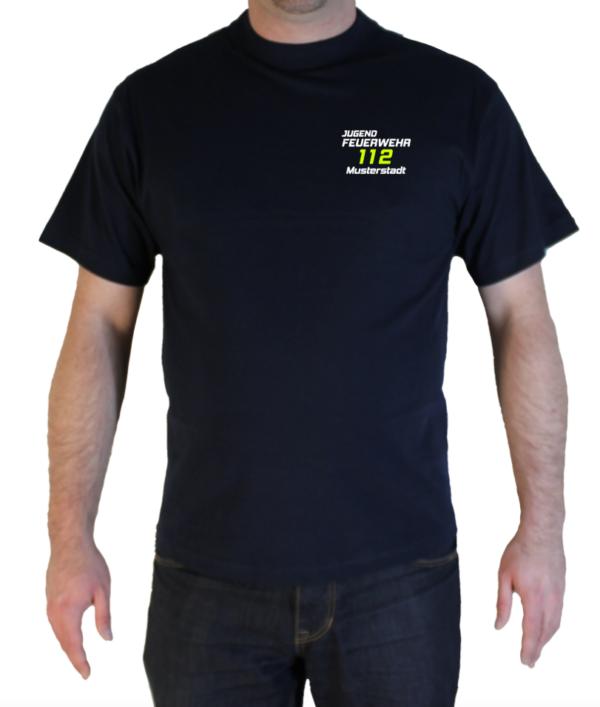 T-Shirt Jugendfeuerwehr zweifarbig 112 mit Ortsname