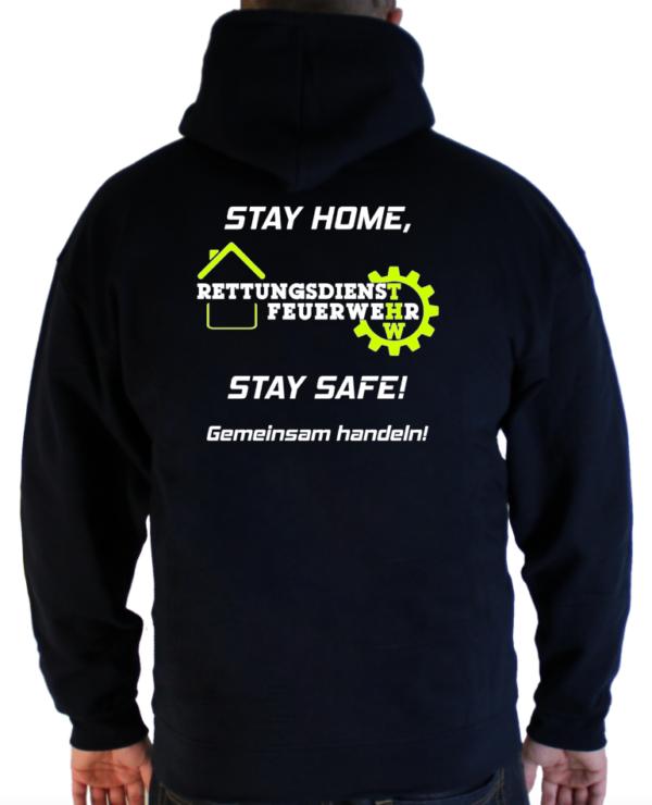 T-Shirt Stay Home Stay Safe Feuerwehr THW und Rettungsdienst