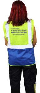 Warnweste Freiwillige Feuerwehr mit Ortsname - Aufdruck silber Reflex