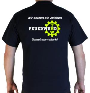 T-Shirt wir setzen ein Zeichen Feuerwehr und THW hinten