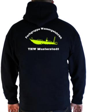 Kapuzenjacke THW Fachgruppe Wassergefahren - Finjet mit Piktorgram in neongelb