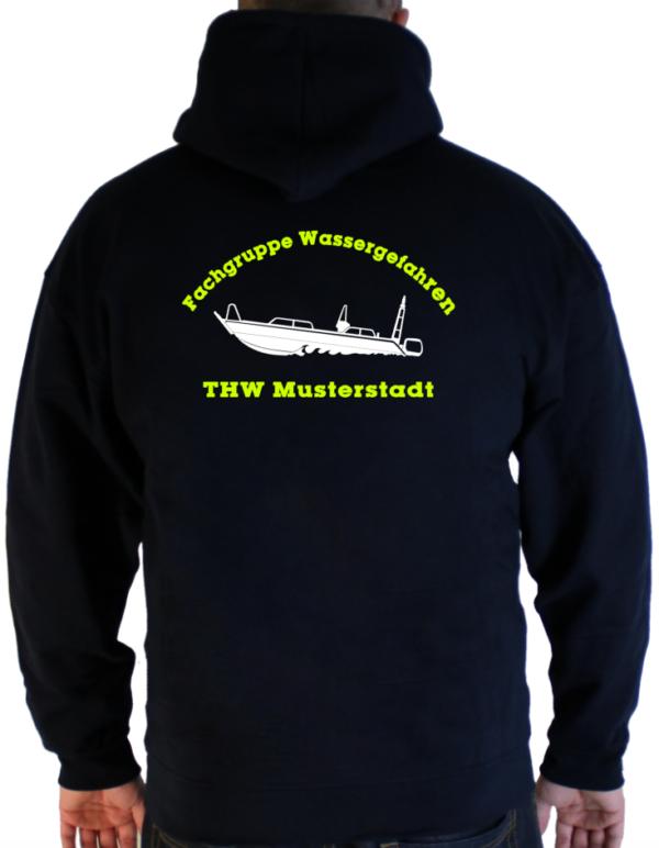 Kapuzenjacke THW Fachgruppe Wassergefahren - Finjet mit Piktorgram in weiß