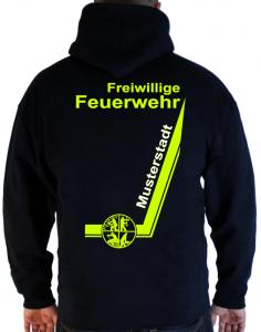 Kapuzenpullover Freiwillige Feuerwehr mit Signet und Ortsnamen - Design zweifarbig