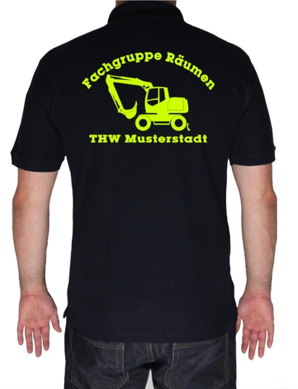 Poloshirt THW Fachgruppe Räumen - Bagger neongelb