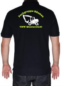 Poloshirt THW Fachgruppe Räumen - Bagger mit Piktorgram in weiß
