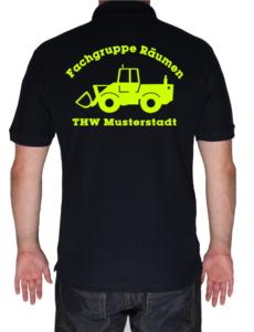 Poloshirt THW Fachgruppe Räumen - Radlader neongelb