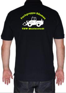 Poloshirt THW Fachgruppe Räumen - Radlader mit Piktorgram in weiß
