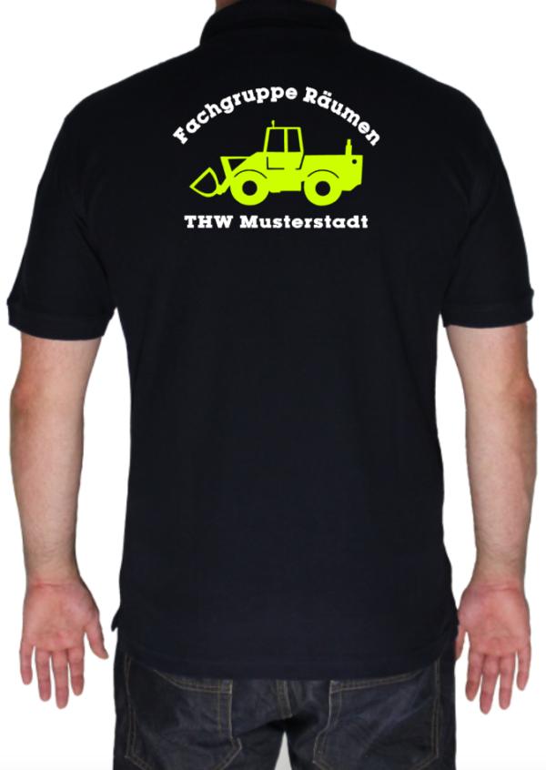 Poloshirt THW Fachgruppe Räumen - Radlader mit Piktorgram in neongelb