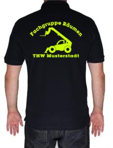 Poloshirt THW Fachgruppe Räumen - Teleskoplader neongelb