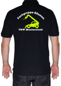 Poloshirt THW Fachgruppe Räumen - Teleskoplader mit Piktorgram in neongelb