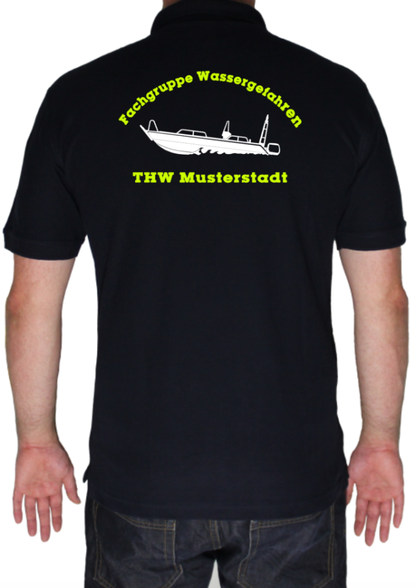 Poloshirt THW Fachgruppe Wassergefahren - Finjet mit Piktorgram in weiß