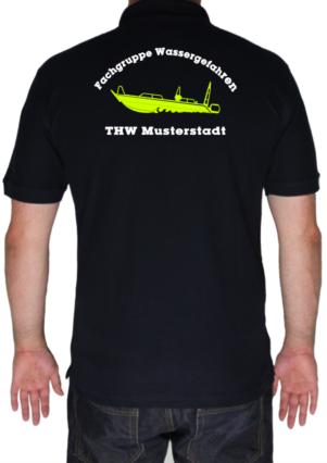 Poloshirt THW Fachgruppe Wassergefahren - Finjet mit Piktorgram in neongelb