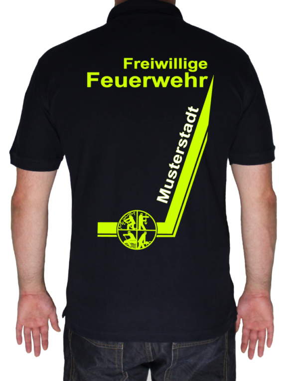 Poloshirt Freiwillige Feuerwehr mit Ortsname und Signet - Designserie zweifarbig