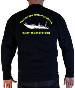 Pullover THW Fachgruppe Wassergefahren - Finjet mit Piktorgram in weiß
