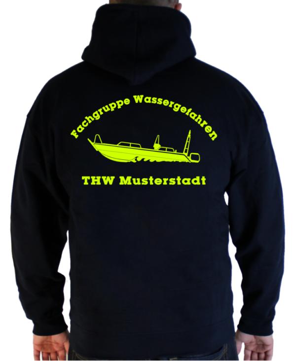 Kapuzenjacke THW Fachgruppe Wassergefahren - Finjet neongelb