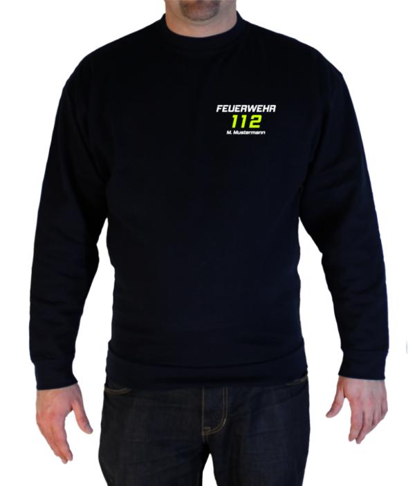 Pullover Feuerwehr 112 mit Name zweifarbdruck
