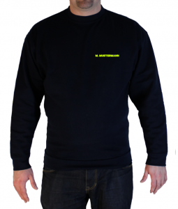 Pullover Freiwillige Feuerwehr Brustdruck in Neongelb der Name