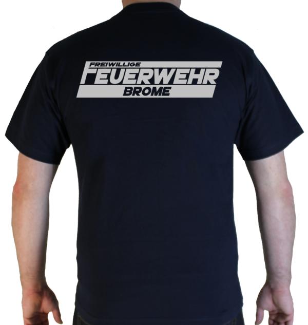 T-Shirt Freiwillige Feuerwehr mit Ortsname in Silberrelfex