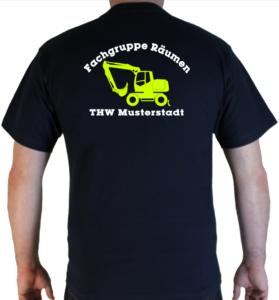 T-Shirt THW Fachgruppe Räumen - Bagger mit Piktorgram in neongelb