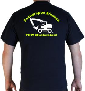 T-Shirt THW Fachgruppe Räumen - Bagger mit Piktorgram in weiß