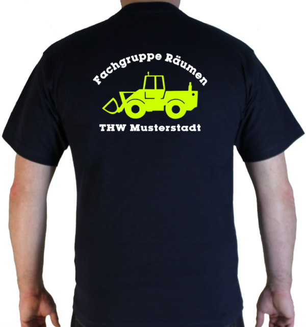 T-Shirt THW Fachgruppe Räumen - Radlader mit Piktorgram in neongelb