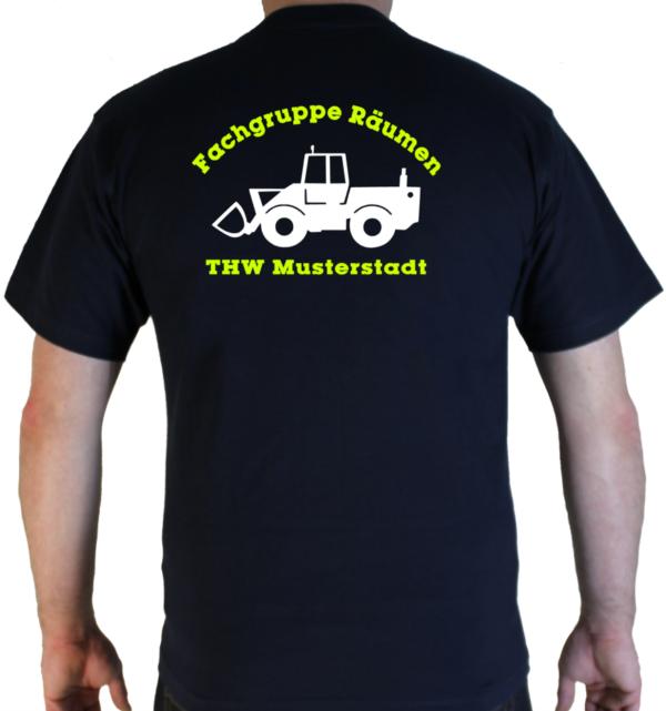 T-Shirt THW Fachgruppe Räumen - Radlader mit Piktorgram in weiß