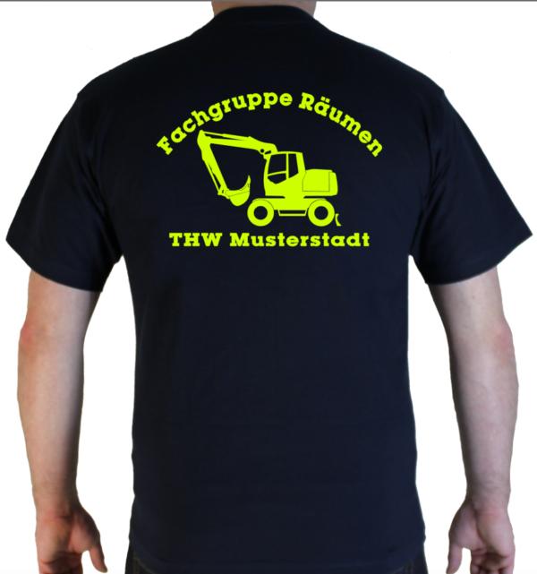 T-Shirt THW Fachgruppe Räumen - Bagger neongelb