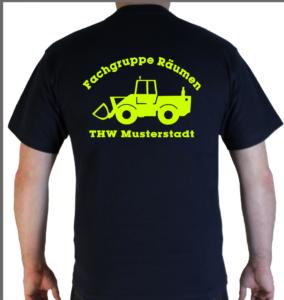 T-Shirt THW Fachgruppe Räumen - Radlader neongelb