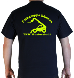 T-Shirt THW Fachgruppe Räumen - Teleskoplader neongelb