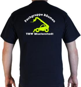 T-Shirt THW Fachgruppe Räumen - Teleskoplader mit Piktorgram in neongelb
