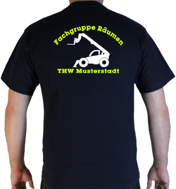 T-Shirt THW Fachgruppe Räumen - Teleskoplader mit Piktorgram in weiß