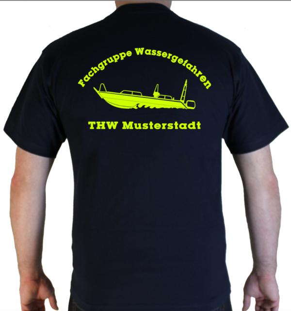 T-Shirt THW Fachgruppe Wassergefahren - Finjet neongelb