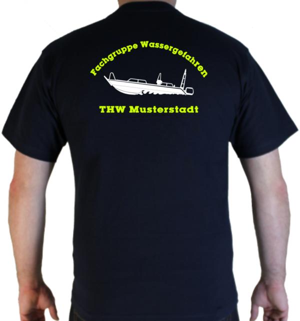 T-Shirt THW Fachgruppe Wassergefahren - Finjet mit Piktorgram in weiß