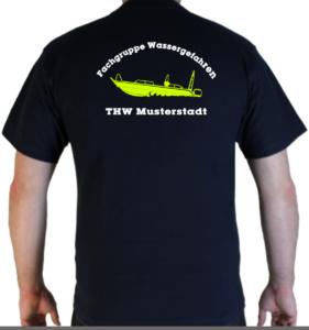 T-Shirt THW Fachgruppe Wassergefahren - Finjet mit Piktorgram in neongelb