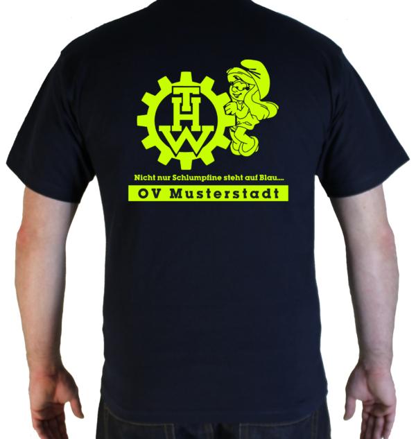 T-Shirt THW Schlumpfine mit Ortsverband