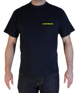 T-Shirt Freiwillige Feuerwehr mit Name auf der Brust in neongelb