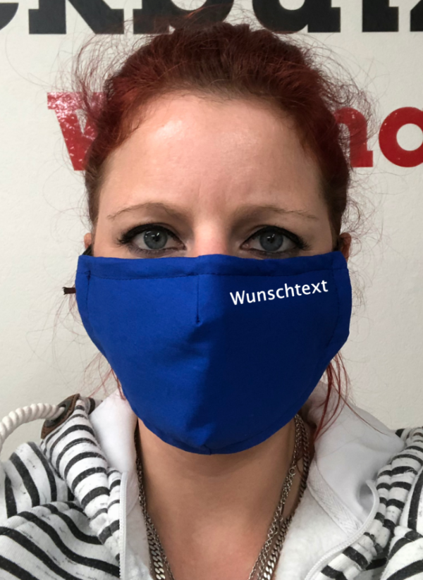 Maske - Royalblau Wunschtext