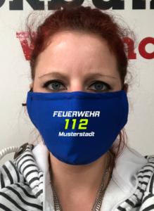 Maske - Royalblau Feuerwehr 112 zweifarbig
