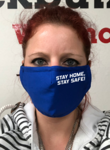 Maske - Royalblau Stay Home Stay Safe